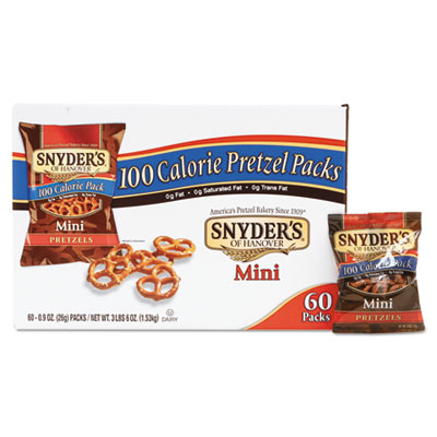 Mini Pretzels, Original, 0.9 oz Bags, 60/Carton
