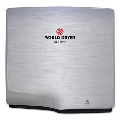WORLD DRYER® SLIMdri Hand Dryer, Stainless Steel, Brushed - L-973A