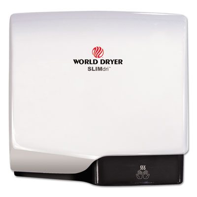 WORLD DRYER® SLIMdri Hand Dryer, Aluminum, White - L-974A