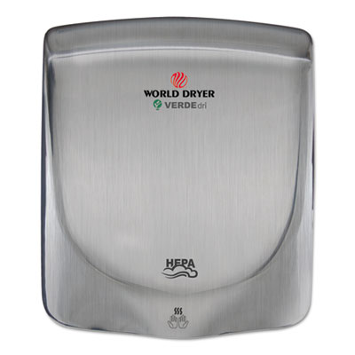 WORLD DRYER® VERDEdri Hand Dryer, Stainless Steel, Brushed - Q-973A