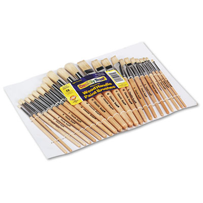 Preschool Brush Set, Sizes 1-12, Natural Bristle, Flat; Round, 24/Set