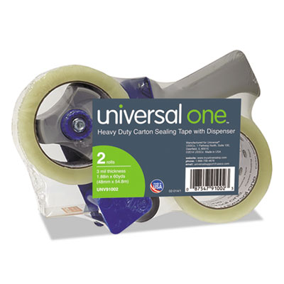 "Universal® Heavy-Duty Box Sealing Tape w/Dispenser, 48mm x 54.8m, 3"" Core, Clear, 2/Pack - UNV91002"
