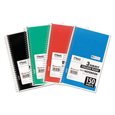 Spiral Notebook, 3 Subjects, Medium/College Rule, Assorted Color Cover