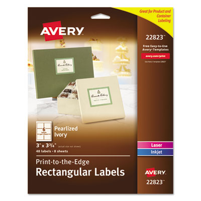 avery rectangle print to the edge labels 2 x 3 glossy clear 80 pack wagner supply company. Black Bedroom Furniture Sets. Home Design Ideas