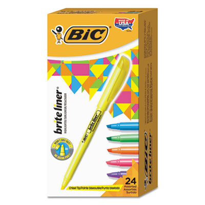 Brite Liner Highlighter, Chisel Tip, Assorted Colors, 24/Set