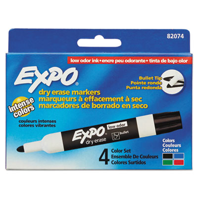 Low-Odor Dry-Erase Marker, Medium Bullet Tip, Assorted Colors, 4/Set