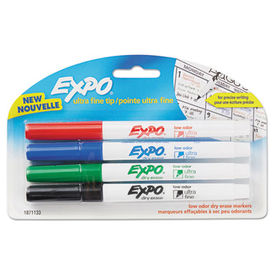 Low-Odor Dry-Erase Marker, Extra-Fine Needle Tip, Assorted Colors, 4/P