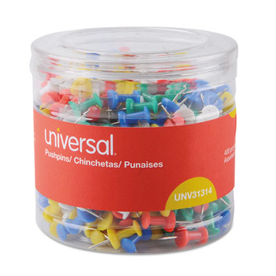 "Universal® Colored Push Pins, Plastic, Assorted, 3/8"", 400/Pack - UNV31314"