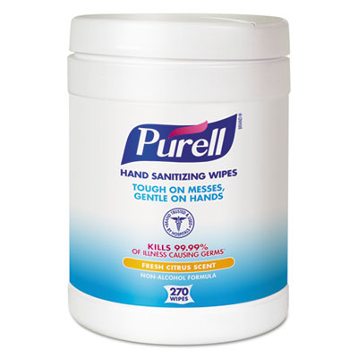 Sanitizing Hand Wipes, 6 x 6 3/4, White, 270 Wipes/Canister