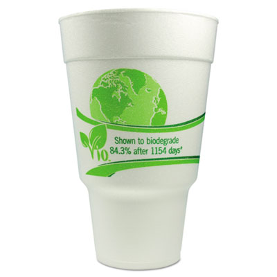 WinCup® Vio Biodegradable Cups, Foam, 32 oz, White/Green - 32CC32VIO