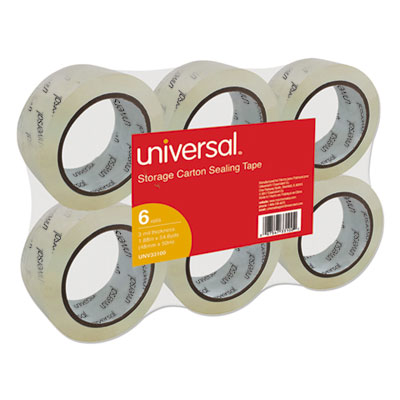 "Universal® Heavy-Duty Acrylic Box Sealing Tape, 48mm x 50m, 3"" Core, Clear, 6/Pack - UNV33100"