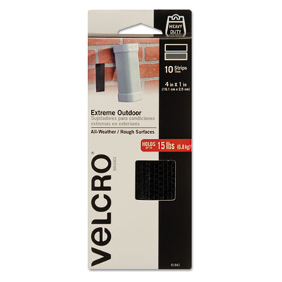 "Velcro® Extreme Fasteners, 1"" x 4"", Black, 10 sets - 91841"