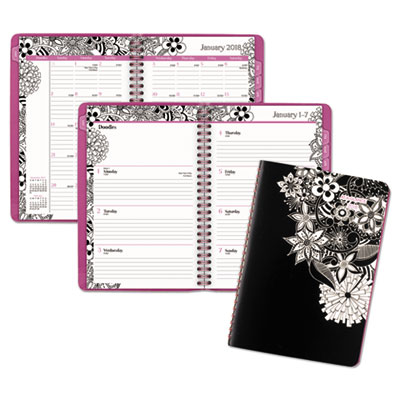 Floradoodle Desk Weekly/Monthly Planner, 6 1/2 x 8 7/8, 2018-2019