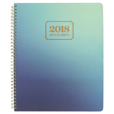 Aurora Day Weekly/Monthly Planners, 8 1/2 x 11, Blue Ombre, 2018, 13-Month