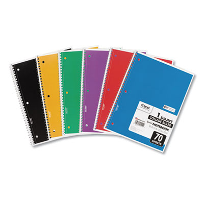 Spiral Notebook, 1 Subject, Medium/College Rule, Assorted Color Covers, 10.5 x 8, 70 Sheets, 6/Pack