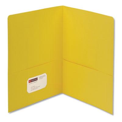 Two-Pocket Folder, Textured Paper, Yellow, 25/Box