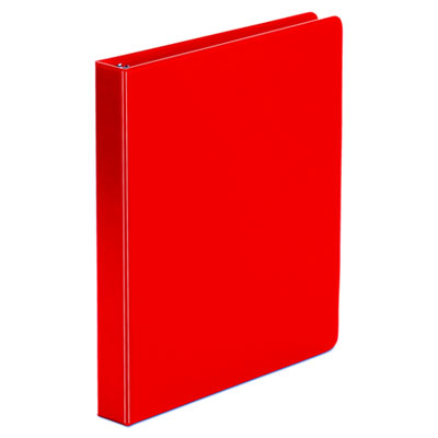 Economy 1 Inch Round Ring Binder, Non-View, Red