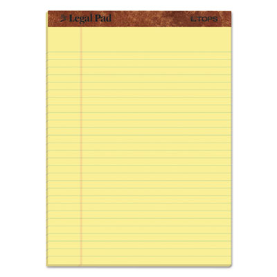 """""""The Legal Pad"""" Perforated Pads, Wide/Legal Rule, 8.5 x 11, Canary, 50 Sheets, 3/Pack TOP75327"""