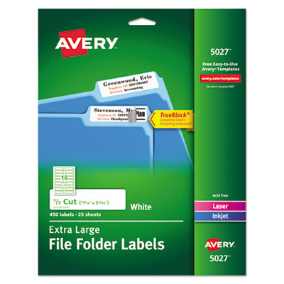 Avery® Extra-Large TrueBlock® File Folder Labels with Sure Feed(TM) Technology