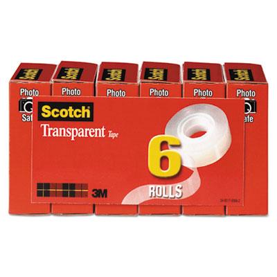 "Transparent Tape, 1"" Core, 0.75"" x 83.33 ft, Transparent, 6/Pack"