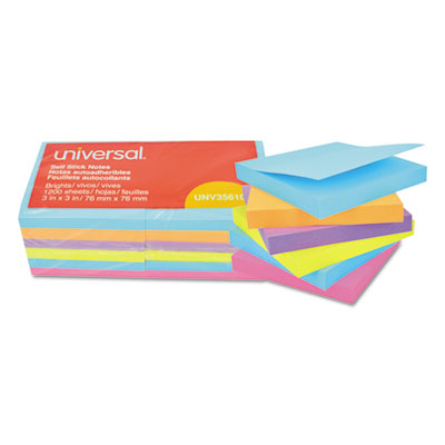 Self Stick Note Pads, 3 x 3, Assorted Colors - Bright, 100 Sheets, 12/