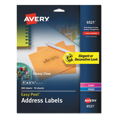 Avery® Glossy Clear Easy Peel® Mailing Labels with Sure Feed™ Technology