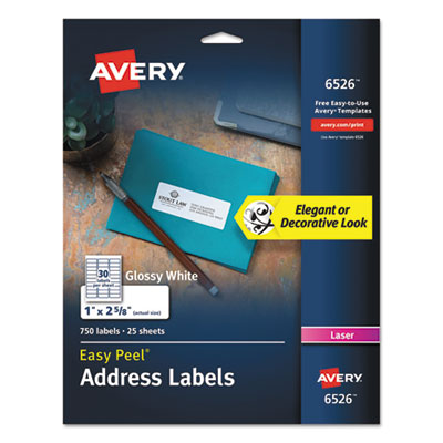 Avery® Glossy White Easy Peel® Mailing Labels with Sure Feed™ Technology