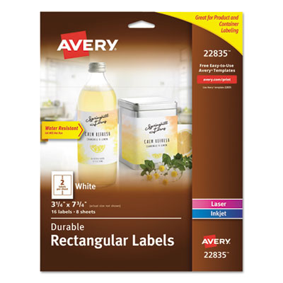Avery® Durable Water-Resistant Wraparound Labels with Sure Feed™ Technology