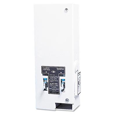 Hospeco Dual Sanitary Napkin/Tampon Dispenser, Coin, Metal, 10 x 6 1/2 x 26 1/4, White 1 Ea.