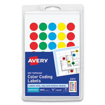 """Avery® Handwrite-Only Self-Adhesive """"See Through"""" Removable Round Color Dots"""