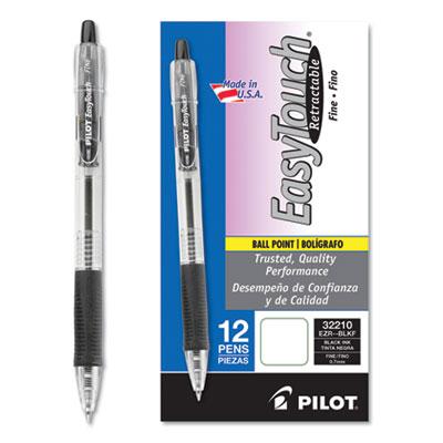 EasyTouch Retractable Ballpoint Pen, Fine 0.7mm, Black Ink, Clear Barrel, Dozen