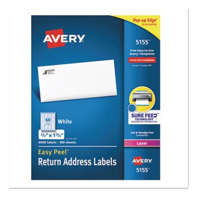 Avery® Easy Peel® White Address Labels with Sure Feed™ Technology
