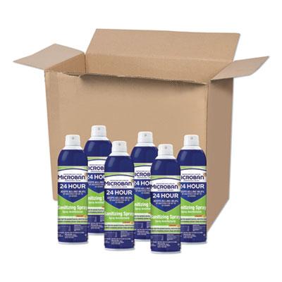 Microban 24-Hour Disinfectant Sanitizing Spray, Citrus, 15 oz, 6/Carton