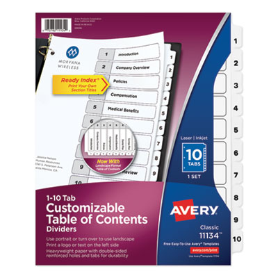 Avery® Customizable Table of Contents Ready Index® Black & White Dividers with Printable Section Titles