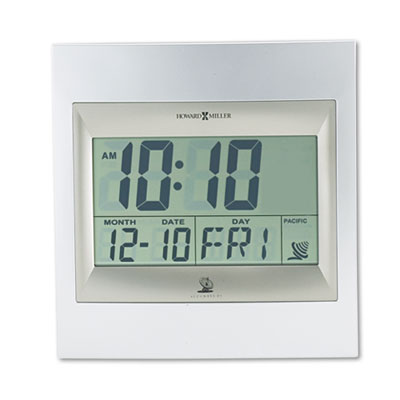 TechTime II Radio-Controlled LCD Wall/Table Alarm Clock, 8-3/4 inchW x 1 inchD x 9-1/4 inchH
