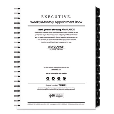 AT-A-GLANCE® Executive® Weekly/Monthly Planner Refill with 15-Minute Appointments