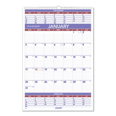 AT-A-GLANCE® Three-Month Wall Calendar