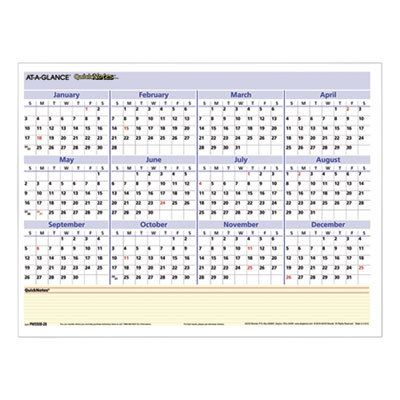 AT-A-GLANCE® QuickNotes® Mini Erasable Wall Planner