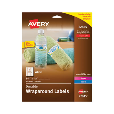 Avery® Durable Water-Resistant Wraparound Labels with Sure Feed(TM) Technology