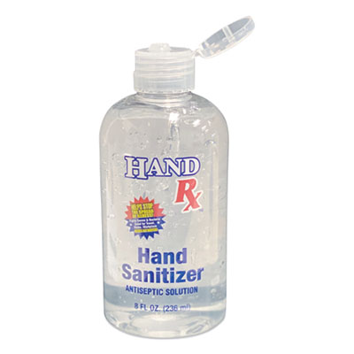 Hand Rx Sanitizer, 8 oz Bottle, Unscented, 12/Carton