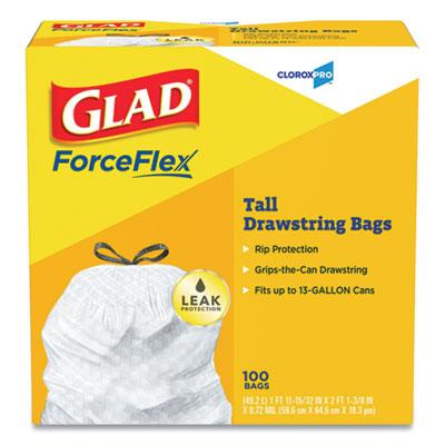"Tall Kitchen Drawstring Trash Bags, 13 gal, 0.72 mil, 24"" x 27.38"", Gr"