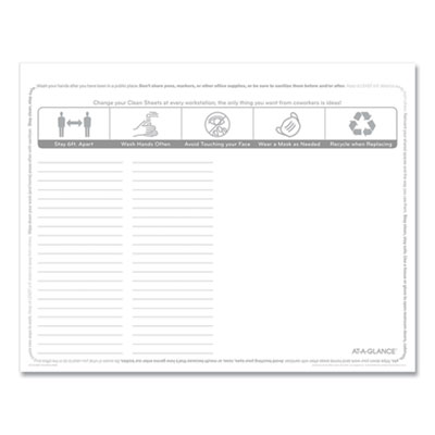AT-A-GLANCE® Disposable Clean Sheets