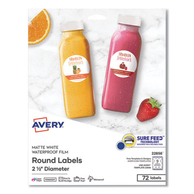 Avery® Durable White Round ID Labels with Sure Feed(TM) Technology
