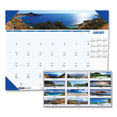 House of Doolittle™ Earthscapes™ 100% Recycled Coastlines Monthly Desk Pad Calendar