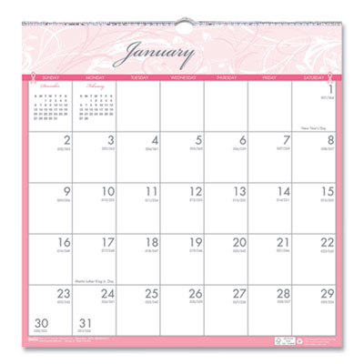 House of Doolittle(TM) Breast Cancer Awareness 100% Recycled Monthly Wall Calendar