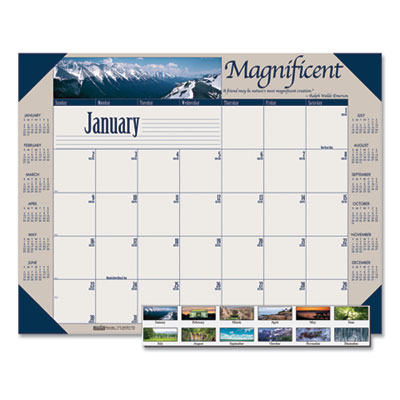 House of Doolittle™ Earthscapes™ 100% Recycled Motivational Monthly Desk Pad Calendar