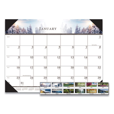 House of Doolittle™ 100% Recycled Full-Color Photo Monthly Desk Pad Calendar