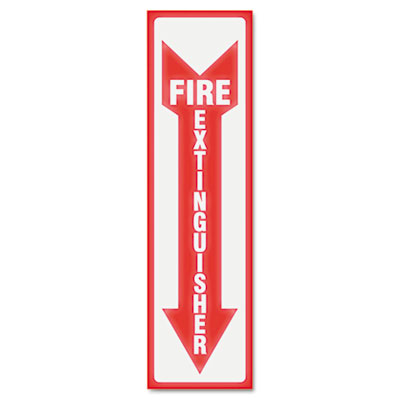 Headline® Sign Glow In The Dark Sign, 4 x 13, Red Glow, Fire Extinguisher - USS4793
