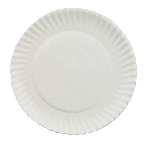 "AJM Packaging Corporation White Paper Plates, 6"" dia, 100/Pack, 10 Packs/Carton"