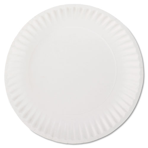 White Paper Plates, 9 Diameter, 100/Bag